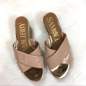 Sam & Libby Shoes - Sam & Libby Nude Open Toe Wedge Sandals Size 8